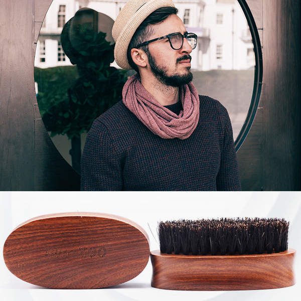 Wooden Sandalwood Beard Brush For Men - Brown