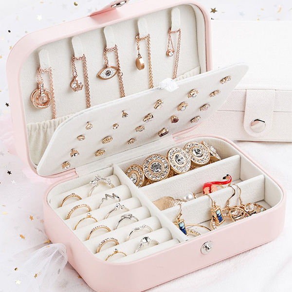 Titch Button Closure Multi Pockets Jewellery Box - Pink
