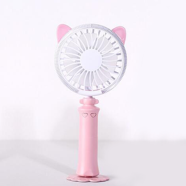Silent LED Rechargeable Handy Fan - Pink