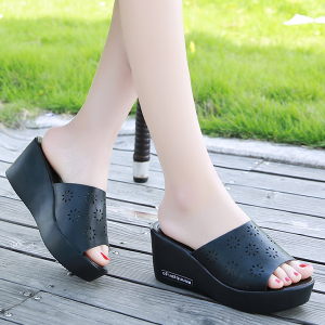 Hollow PU Leather Heavy Bottom Sandals - Black