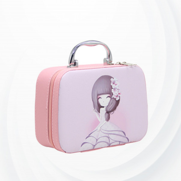 Girl Printed Zipper Closure Briefcase Cosmetic Bags