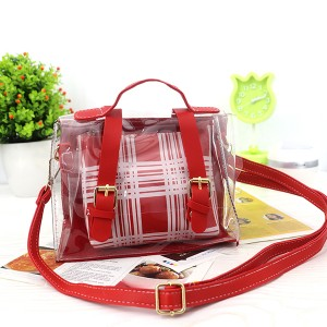 Magnetic Closure Two Piece Jelly Messenger Bags - Red