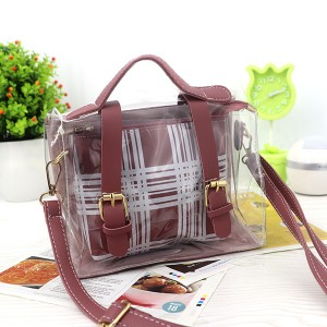 Magnetic Closure Two Piece Jelly Messenger Bags - Rose Pink