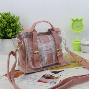 Magnetic Closure Two Piece Jelly Messenger Bags - Pink