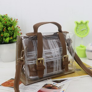 Magnetic Closure Two Piece Jelly Messenger Bags - Brown