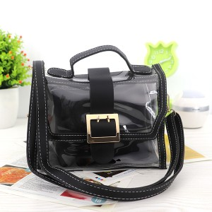 Magnetic Closure Two Piece Transparent Messenger Bag - Black
