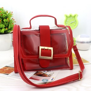 Magnetic Closure Two Piece Transparent Messenger Bag - Red