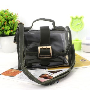 Magnetic Closure Two Piece Transparent Messenger Bag - Dark Green