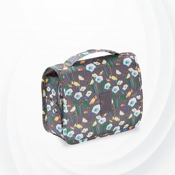 Floral Printed Traveller Cosmetics Bags - Brown
