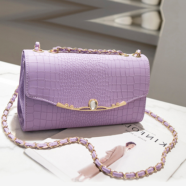 Crocodile Texture Chain Strapped Messenger Bags - Purple