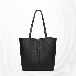 Synthetic Leather Plain Textured Shoulder Bags - Black