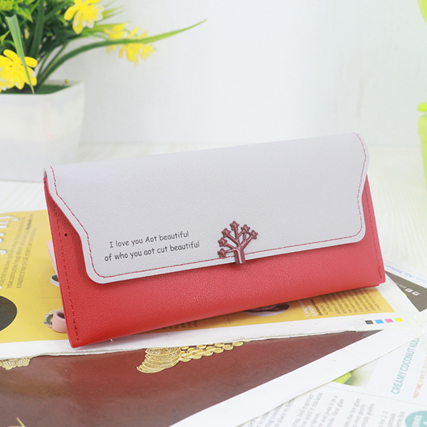 Magnetic Closure PU Leather Wristlet Wallets - Red