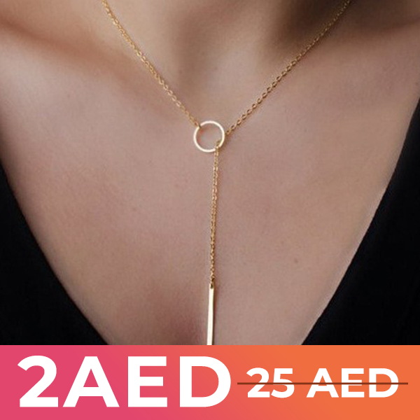 Gold Plated Ring Short Chain Necklace - Golden