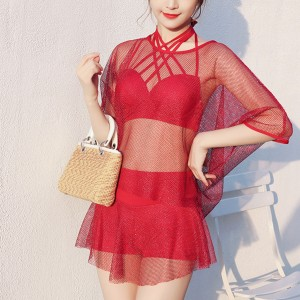 Net Outwear Three Piece Hot Swimsuit - Red