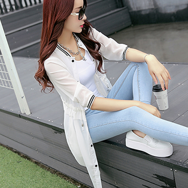 Button Up Summer Outwear Cardigan - White