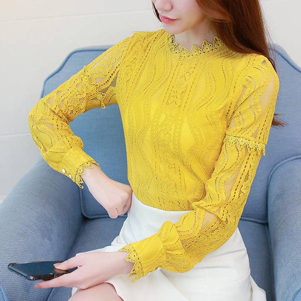 Turtle Neck Lace Party Wear Blouse Top - Yellow