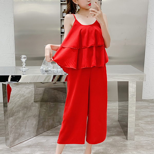 Camisole Two Pieces Loose Blouse With Bottom Pants - Red