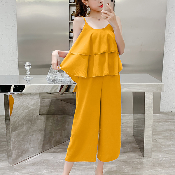 Camisole Two Pieces Loose Blouse With Bottom Pants - Yellow