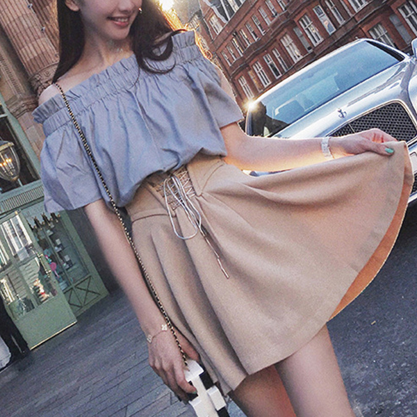 Off Shoulder Two Piece Blouse With Skirt Suit