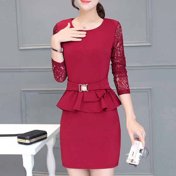 Lace Sleeved Round Neck Mini Party Dress - Red