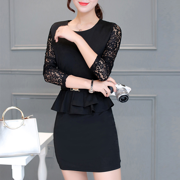 Lace Sleeved Round Neck Mini Party Dress - Black