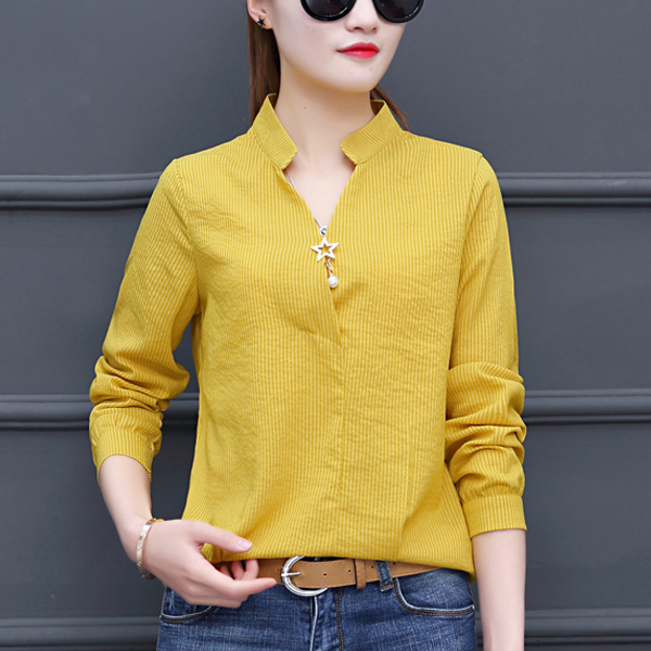 Lining Texture Stand Neck Full Sleeved Shirt - Yellow