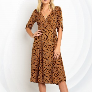 Deep Neck Digital Prints Beach Dress - Brown