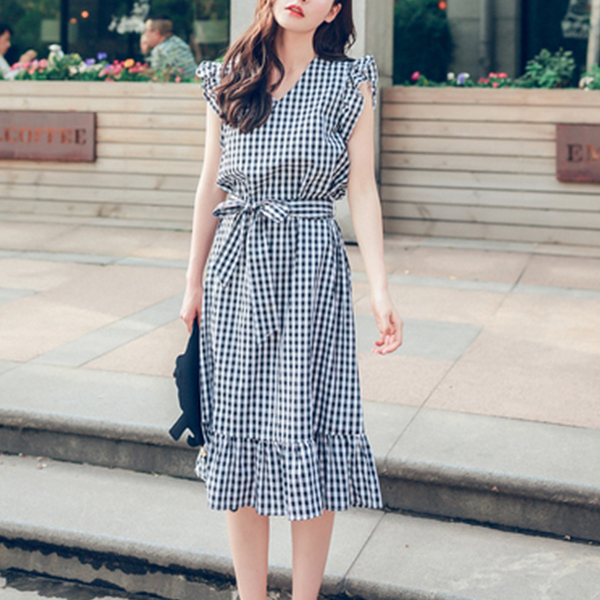 Check Prints Flared Hem Sleeveless Midi Dress