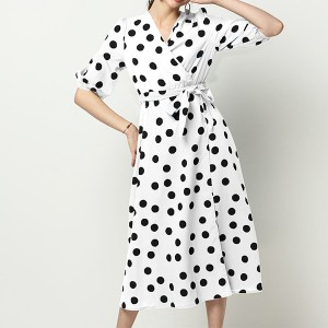Polka Prints Trendy Waist Belt Midi Dress - White