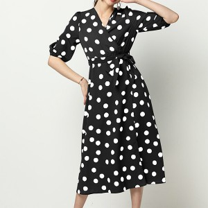 Polka Prints Trendy Waist Belt Midi Dress - Black