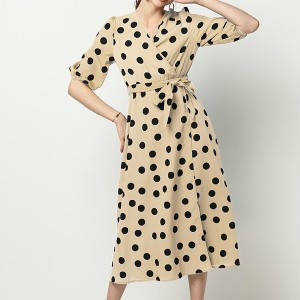 Polka Prints Trendy Waist Belt Midi Dress - Beige