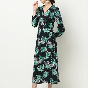 Tropical Prints V Neck Loose Midi Dress - Green