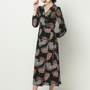Tropical Prints V Neck Loose Midi Dress - Black
