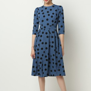 Turtle Neck Polka Prints Casual Midi Dress - Blue