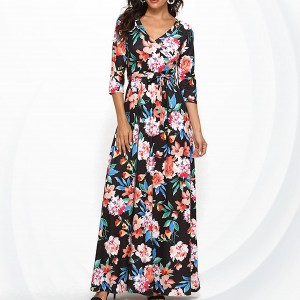 Floral Printed V Neck Half Sleeves Maxi Dress - Black