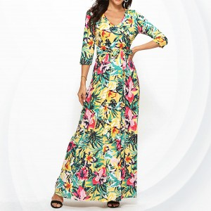 Floral Prints V Neck Maxi A-line Dress - Multi Color