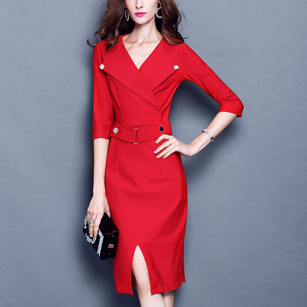 Suit Neck Exclusive Office Wear Formal Dress - Red