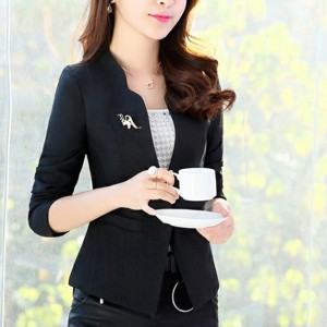 Button Up Stand Collar Coat Formal Cardigan - Black