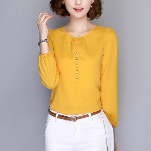 Round Neck Thin Fabric Plain Summer Blouse Top - Yellow