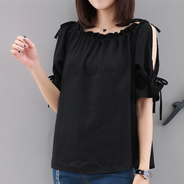 String Shoulder Party Wear Thin Fabric Blouse - Black