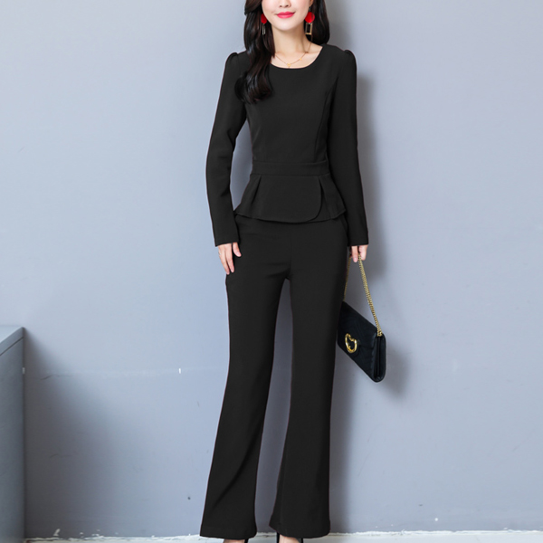 Pleated Double Layered Two Piece Party Suit - Black