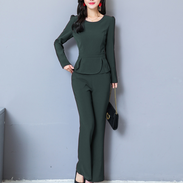 Pleated Double Layered Two Piece Party Suit - Green