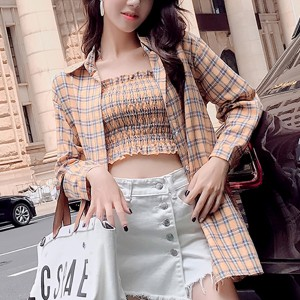 Check Prints Bandeau Blouse With Outwear Shirt - Yellow
