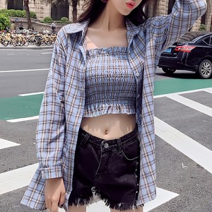 Check Prints Bandeau Blouse With Outwear Shirt - Blue