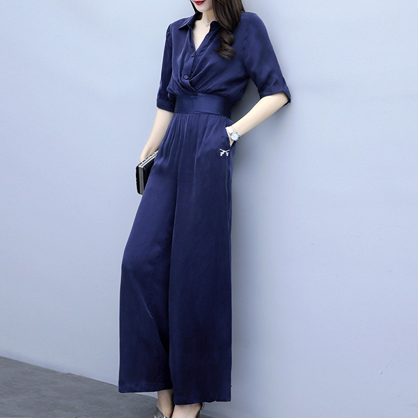 Shirt Collar Blouse Top With Bottom Trousers - Blue