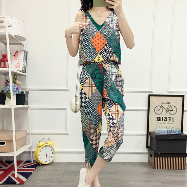 Patchwork Printed Colorful Two Piece Suit - Green