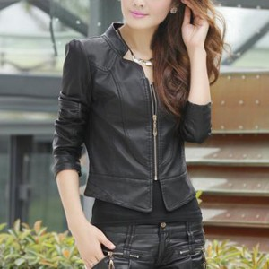Stand Neck PU Leather Zipper Casual Jacket - Black