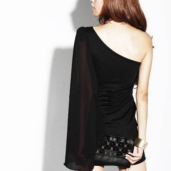 Flared One Sleeve Party Wear One Shoulder Dress
