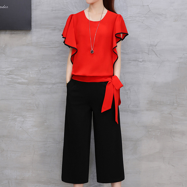 Ruffle Sleeves Waist Ribbon Party Wear Suit - Red