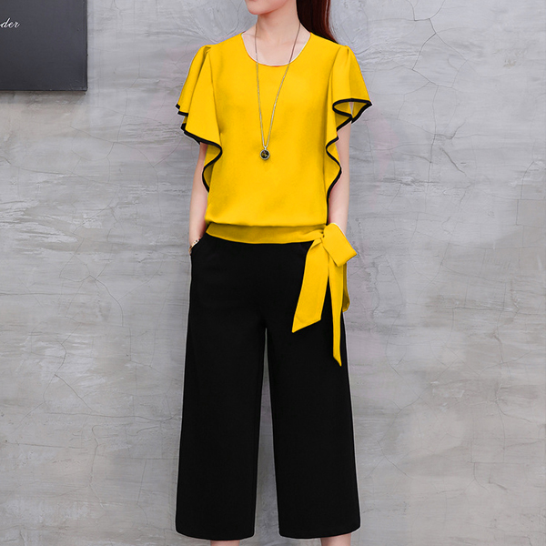 Ruffle Sleeves Waist Ribbon Party Wear Suit - Yellow